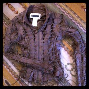 PLEIN SUD Fantastic String Leather Jkt Parisian
